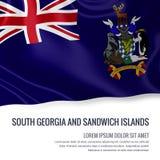 Drapeau soyeux de la Géorgie du sud et des îles de sandwich ondulant sur un fond blanc d'isolement avec le secteur blanc des text Illustration Stock