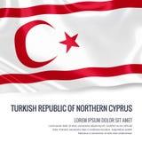 Drapeau soyeux de la République turque de la Chypre du nord ondulant sur un fond blanc d'isolement avec le secteur blanc des text Image stock