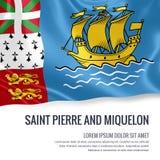 Drapeau soyeux de Saint-Pierre-et-Miquelon ondulant sur un fond blanc d'isolement avec le secteur blanc des textes pour votre mes Photos libres de droits