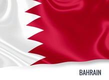 Drapeau soyeux du Bahrain ondulant sur un fond blanc d'isolement Images libres de droits