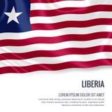 Drapeau soyeux du Libéria ondulant sur un fond blanc d'isolement avec le secteur blanc des textes pour votre message d'annonce Image stock