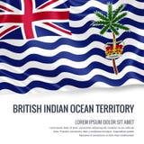 Drapeau soyeux du territoire d'Océan Indien britannique ondulant sur un fond blanc d'isolement avec le secteur blanc des textes Photos stock