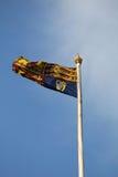 Drapeau standard royal britannique sur le mât de drapeau Images libres de droits