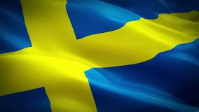 Drapeau suédois ondulant dans l'enregistrement vidéo plein HD de vent Fond suédois réaliste de drapeau Plan rapproché de bouclage illustration libre de droits