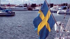 Drapeau suédois sur le voilier banque de vidéos