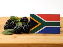 Drapeau sud-africain sur un panneau en bois avec des mûres d'isolement image libre de droits
