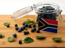 Drapeau sud-africain sur une planche en bois avec les myrtilles o photographie stock