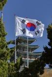 Drapeau sud-coréen au palais de Gyeongbokgung, Grand Place Séoul, Corée du Sud, Asie - tir en novembre 2013 Photos stock