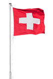 Drapeau suisse sur le blanc Photo stock