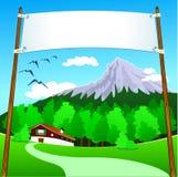 Drapeau sur la montagne Photographie stock libre de droits