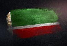 Drapeau tchétchène de République fait de peinture métallique de brosse sur Dar grunge illustration stock