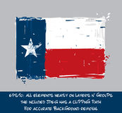Drapeau texan plat - la brosse artistique frotte et éclabousse Image libre de droits