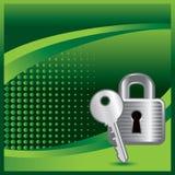 Drapeau tramé vert avec le blocage et la clé Photographie stock libre de droits