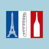 Drapeau tricolore français des caractéristiques nationales du pays Images libres de droits