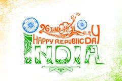 Drapeau tricolore indien pour le jour heureux de République Photographie stock libre de droits