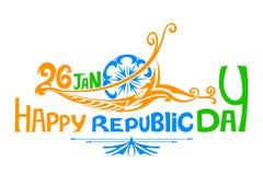 Drapeau tricolore indien pour le jour heureux de République Images libres de droits