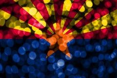 Drapeau trouble abstrait de bokeh de l'Arizona Noël, nouvelle année et drapeau de concept de jour national Les Etats-Unis d'Améri illustration libre de droits
