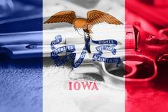Drapeau U de l'Iowa S contrôle des armes d'état Etats-Unis Les Etats-Unis lancent la loi photo stock