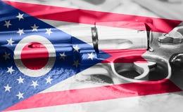 Drapeau U de l'Ohio S contrôle des armes d'état Etats-Unis Les Etats-Unis lancent la loi photographie stock libre de droits