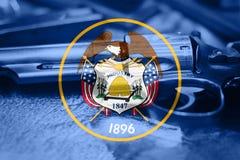 Drapeau U de l'Utah S contrôle des armes d'état Etats-Unis Les Etats-Unis lancent la loi image libre de droits