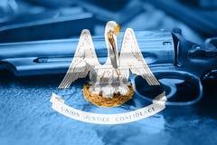 Drapeau U de la Louisiane S contrôle des armes d'état Etats-Unis Les Etats-Unis image libre de droits