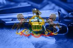 Drapeau U de la Pennsylvanie S contrôle des armes d'état Etats-Unis Les Etats-Unis images stock
