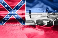 Drapeau U du Mississippi S contrôle des armes d'état Etats-Unis Les Etats-Unis photos stock