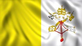 Drapeau vatican ondulant dans le symbole de vent illustration stock