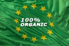 Drapeau vert d'Union européenne comme marque de bio nourriture organique ou d'écologie photographie stock