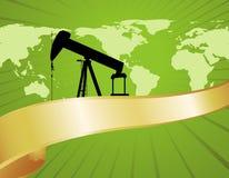 Drapeau vert de carte de pétrole du monde Image stock