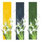 Drapeau vertical avec des fleurs de source Photos libres de droits