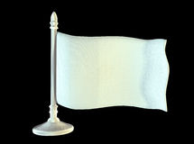 Drapeau vide blanc sur le mât de drapeau brillant en métal 3d Photographie stock libre de droits