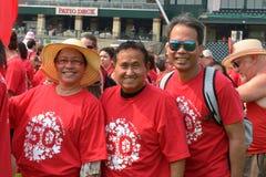 Drapeau vivant pendant le jour de Canada dans Winnipeg, Canada 1er juillet 2015 Image stock