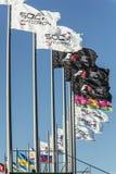 Drapeaux à l'autodrom de Sotchi Photos libres de droits