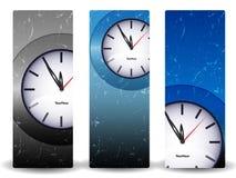 Drapeaux abstraits avec l'horloge Photographie stock libre de droits