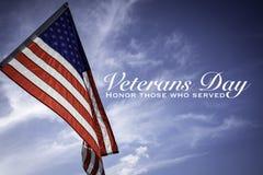 Drapeaux américains avec une salutation de jour de vétérans photo libre de droits