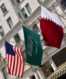 Drapeaux américains du Qatar de Saoudien Photographie stock