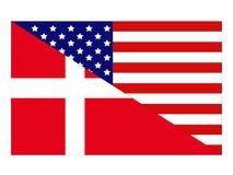 Drapeaux américains et danois illustration stock