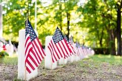Drapeaux américains marquant les tombes des combattants dans un cimetière photographie stock libre de droits