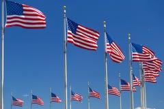 Drapeaux américains près de monument de Washington dans le Washington DC Photographie stock libre de droits