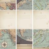 Drapeaux antiques de carte Image stock