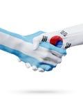Drapeaux Argentine, Corée du Sud, pays, association, équipe de sports nationale Photographie stock libre de droits
