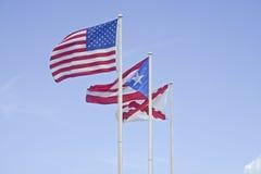 Drapeaux au fort San Cristobal, Porto Rico Image stock
