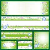 Drapeaux avec des configurations de fleur Image libre de droits