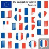 drapeaux avec des couleurs de pays des Frances Photographie stock libre de droits