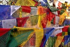 Drapeaux avec des prières Images libres de droits