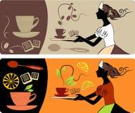 Drapeaux avec du thé et le coffe Photos stock
