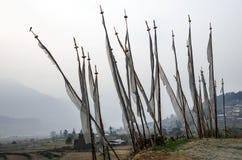 Drapeaux bhoutanais communs de prière, royaume du Bhutan Photographie stock libre de droits