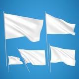 Drapeaux blancs de vecteur sur le fond bleu Photographie stock