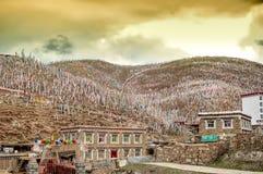 Drapeaux bouddhistes colorés de prière dans les montagnes tibétaines de la Chine Image stock